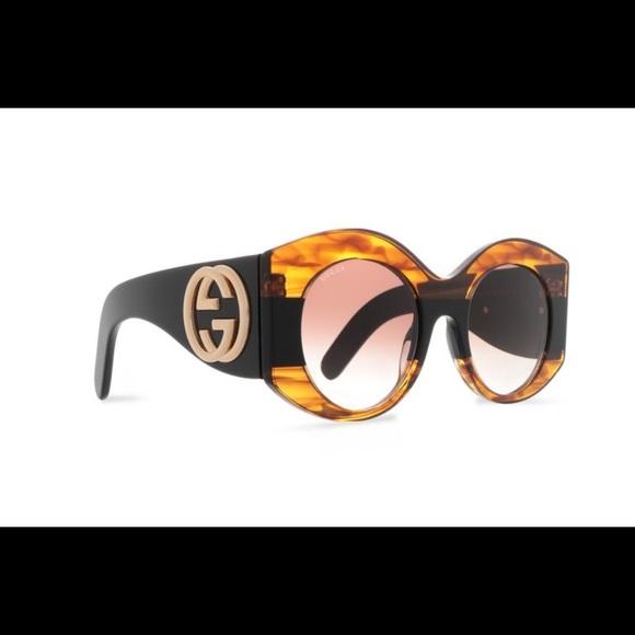30cf9bdb9bcab Gucci Oval Frame Printed Sunglasses
